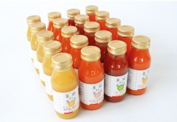 画像1: 【自家用】果樹ある生活 果汁180ml 4種類 20本 Aセット (1)